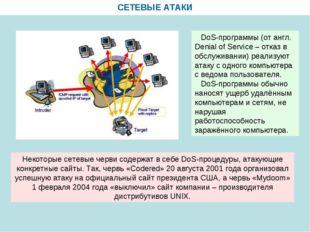 СЕТЕВЫЕ АТАКИ DoS-программы (от англ. Denial of Service – отказ в обслуживани