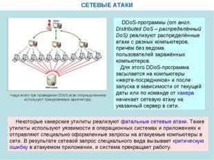 СЕТЕВЫЕ АТАКИ DDoS-программы (от англ. Distributed DoS – распределённый DoS)