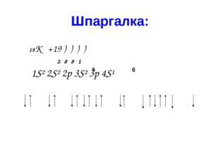 Шпаргалка: 19К +19 ) ) ) ) 2 8 8 1 1S² 2S² 2p 3S² 3p 4S¹