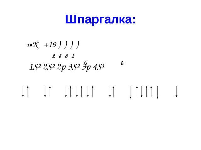Шпаргалка: 19К +19 ) ) ) ) 2 8 8 1 1S² 2S² 2p 3S² 3p 4S¹ ...