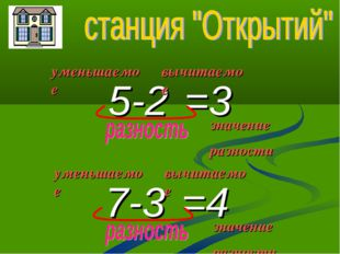 5-2 7-3 =3 =4 уменьшаемое вычитаемое значение разности уменьшаемое вычитаемое
