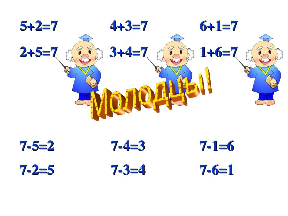 5+2=7 4+3=7  6+1=7 2+5=7 3+4=7 1+6=7 7-2=5 7-5=2 7-4=3 7-3=4 7-6=1 7-...