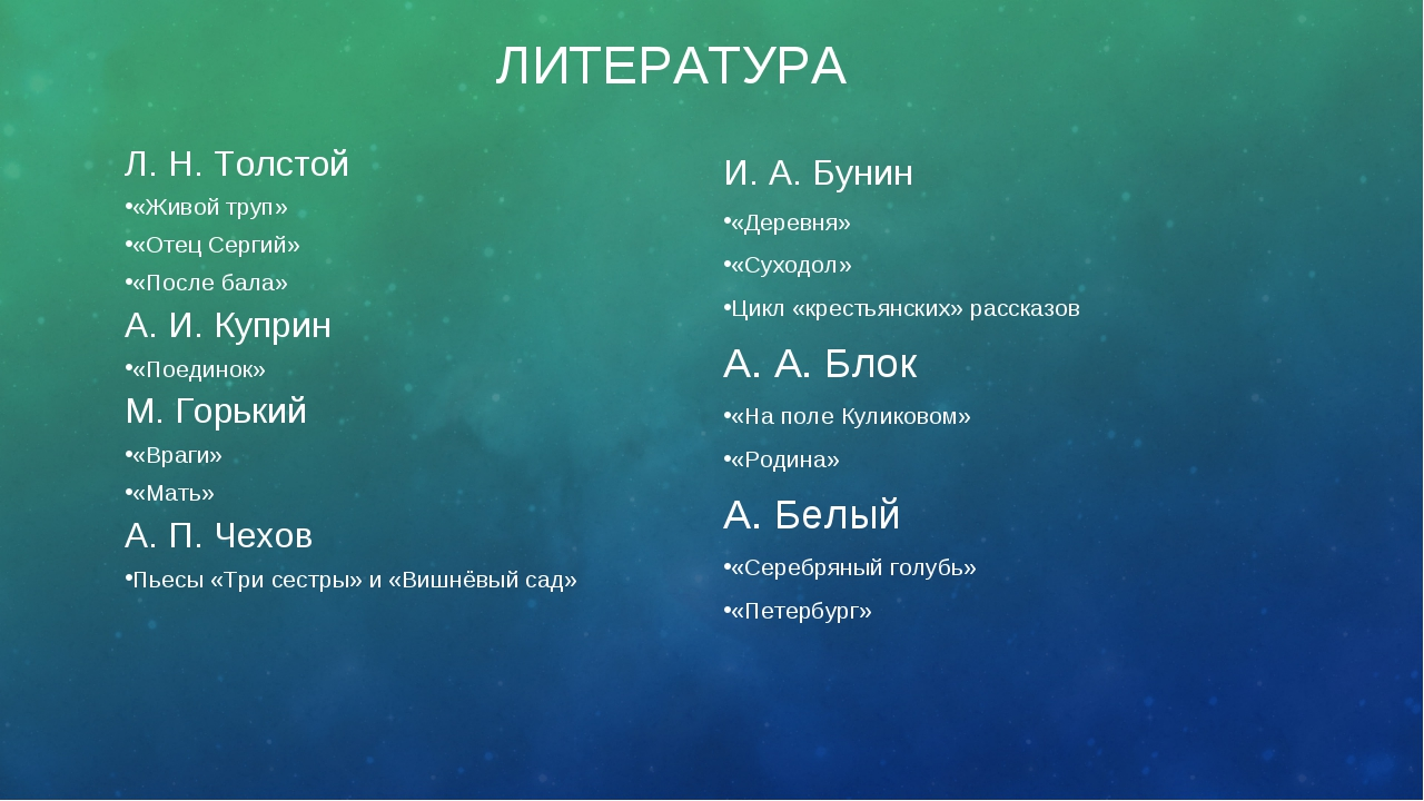 ЛИТЕРАТУРА Л. Н. Толстой «Живой труп» «Отец Сергий» «После бала» А. И. Куприн...