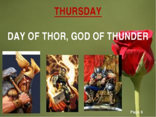 THURSDAY DAY OF THOR, GOD OF THUNDER Page *