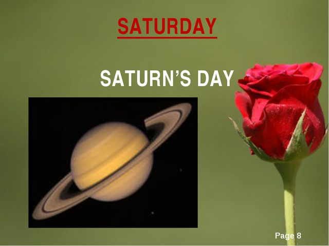 SATURDAY SATURN'S DAY Page *