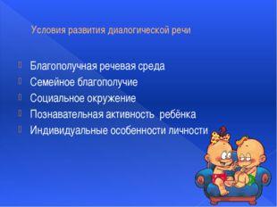 Условия развития диалогической речи Благополучная речевая среда Семейное благ