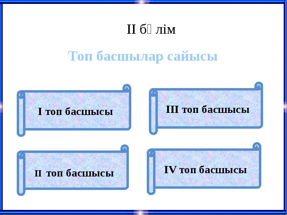 ІІ бөлім Топ басшылар сайысы ІІ топ басшысы І топ басшысы ІII топ басшысы ІV...