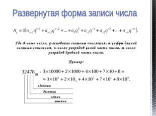 Где А-само число, q-основание системы счисления, а-цифры данной системы счисл