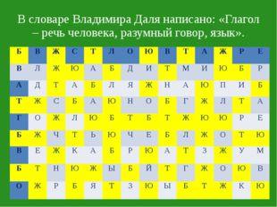 В словаре Владимира Даля написано: «Глагол – речь человека, разумный говор, я