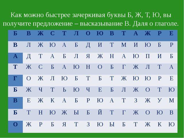 Как можно быстрее зачеркивая буквы Б, Ж, Т, Ю, вы получите предложение – выс...