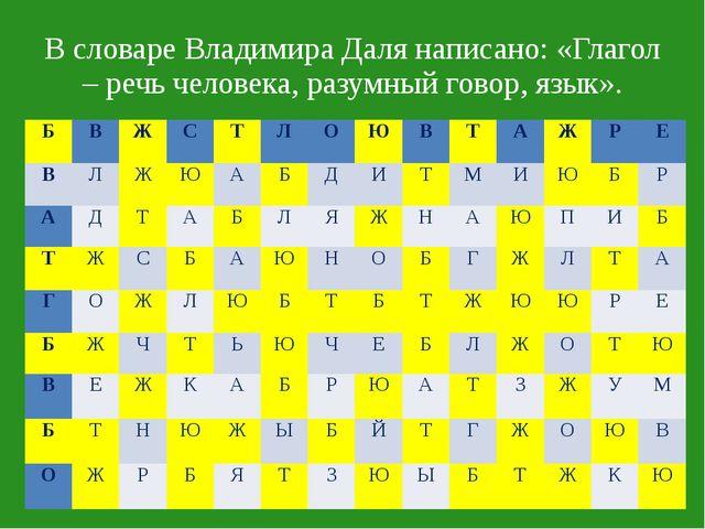 В словаре Владимира Даля написано: «Глагол – речь человека, разумный говор, я...