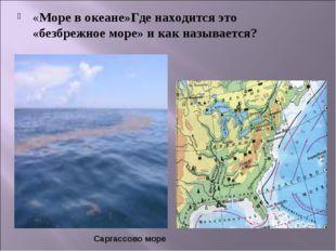 «Море в океане»Где находится это «безбрежное море» и как называется? Саргассо