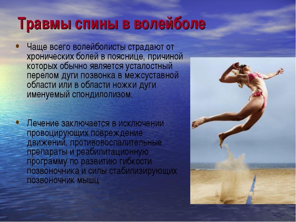 Травмы спины в волейболе Чаще всего волейболисты страдают от хронических боле...