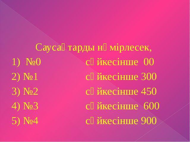 Саусақтарды нөмірлесек, 1) №0 сәйкесінше 00 2) №1 сәйкесінше 300 3) №2 сәйке...