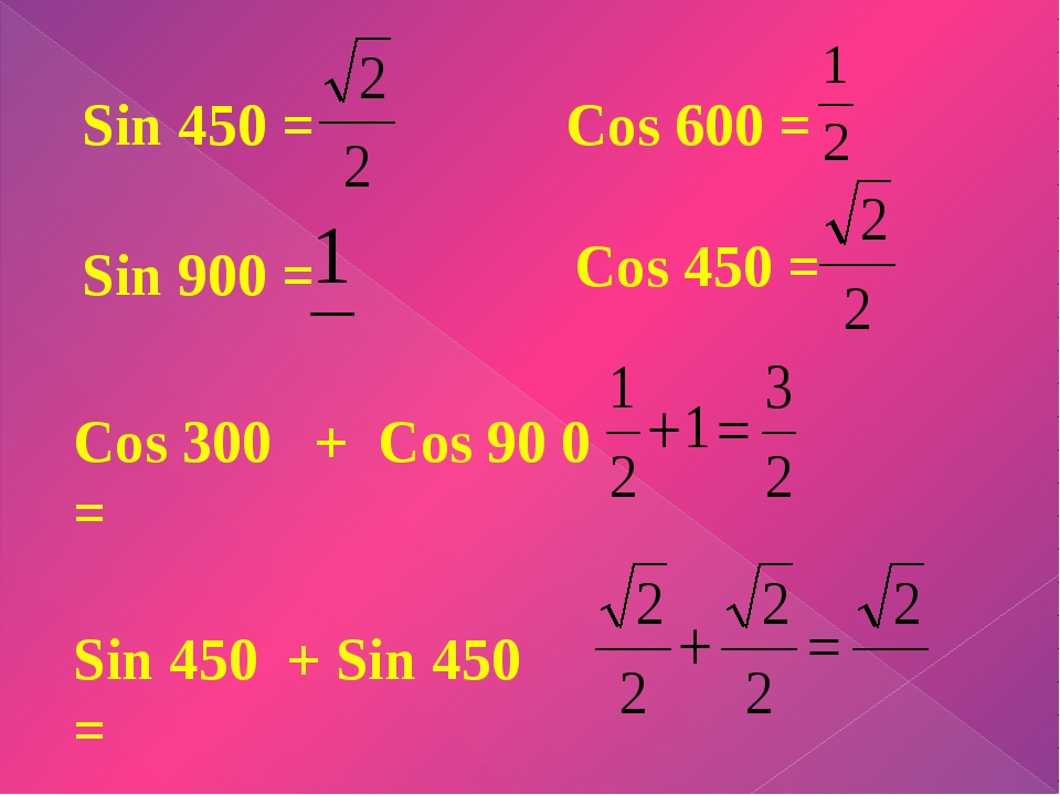 Sin 450 = Sin 900 = Sin 450 + Sin 450 = Cos 600 = Cos 450 = Cos 300 + Cos 90...