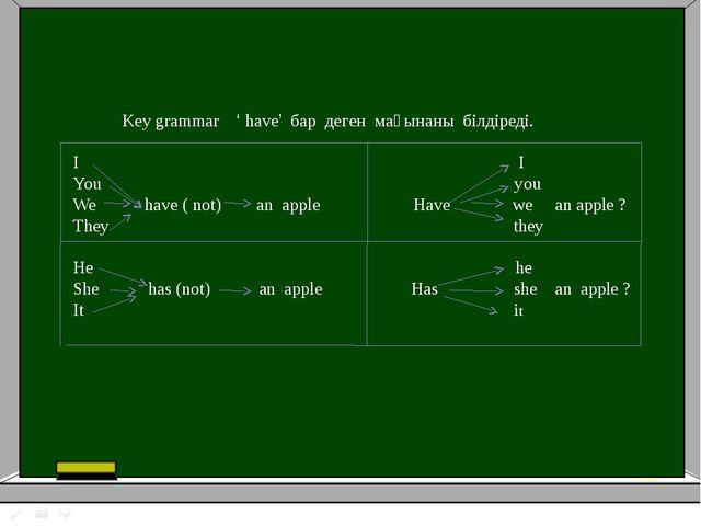 Key grammar ' have' бар деген мағынаны білдіреді. I I You you We have ( not)...