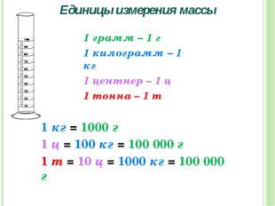 Единицы измерения массы 1 грамм – 1 г 1 килограмм – 1 кг 1 центнер – 1 ц 1 то