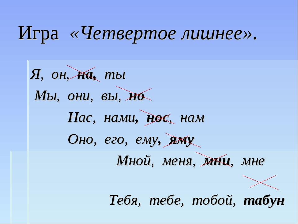 Игра «Четвертое лишнее». Я, он, на, ты Мы, они, вы, но Нас, нами, нос, нам Он...