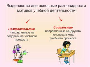 Выделяются две основные разновидности мотивов учебной деятельности: Познавате