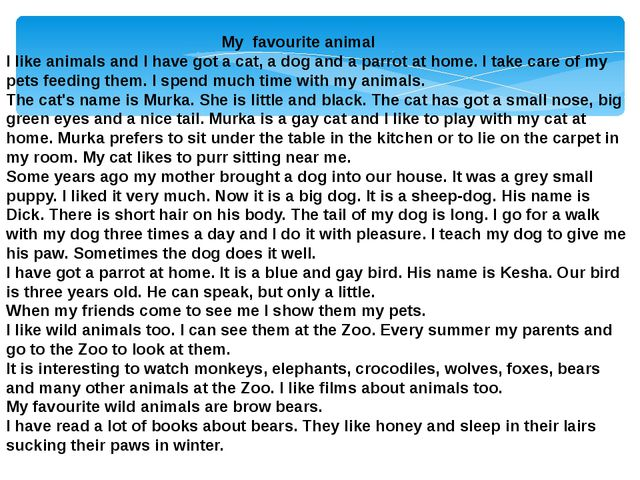 My favourite animal I like animals and I have got a cat, a dog and a parrot...