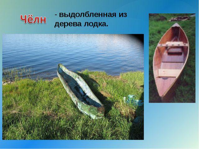 - выдолбленная из дерева лодка. {
