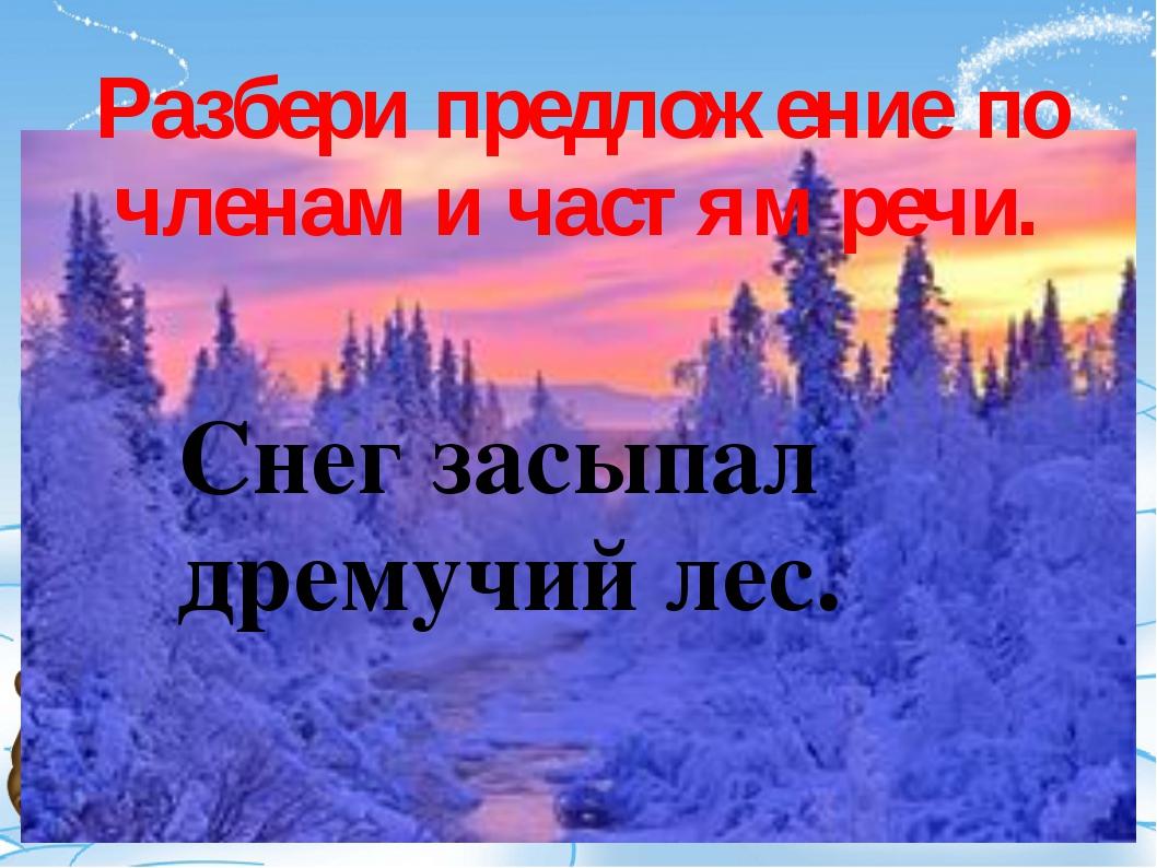 Разбери предложение по членам и частям речи. Снег засыпал дремучий лес.