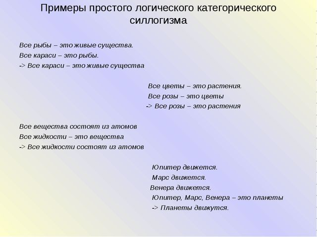Примеры простого логического категорического силлогизма Все рыбы – это живые...
