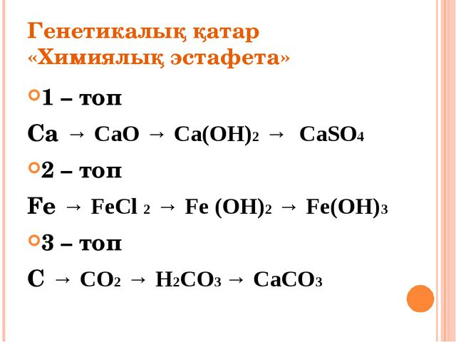 Генетикалық қатар «Химиялық эстафета» 1 – топ Ca → CaO → Ca(OH)2 → CaSO4 2 –...
