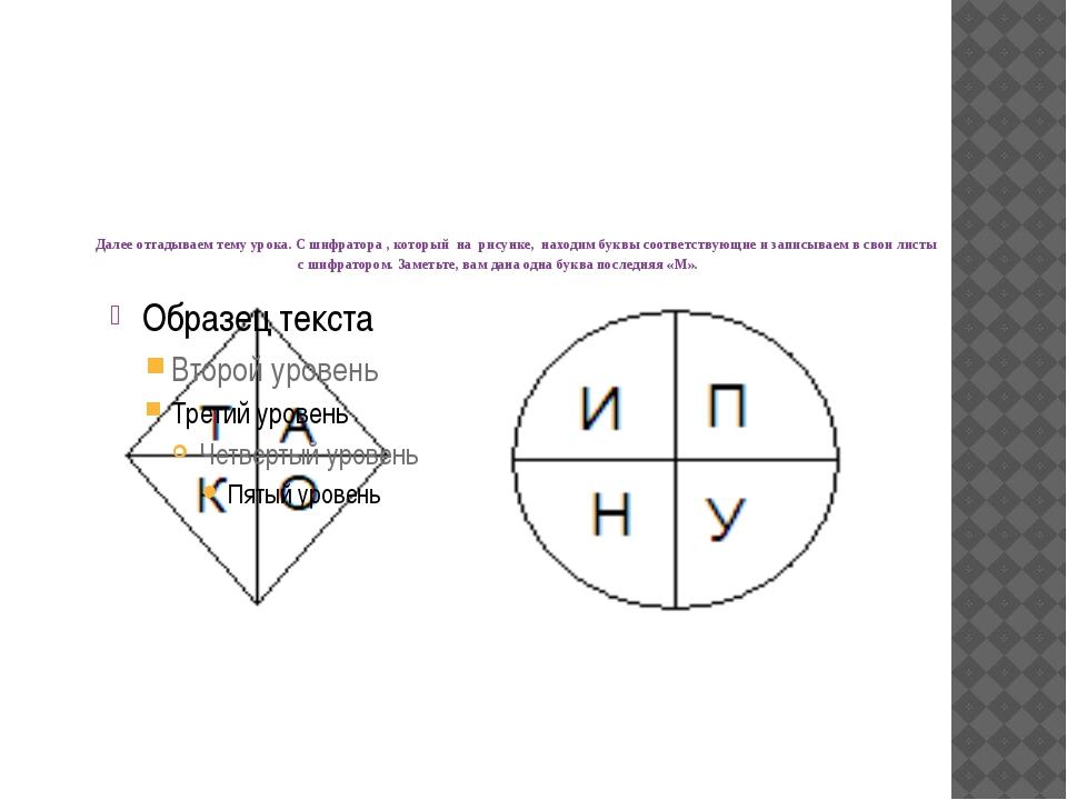 Далее отгадываем тему урока. С шифратора , который на рисунке, находим буквы...