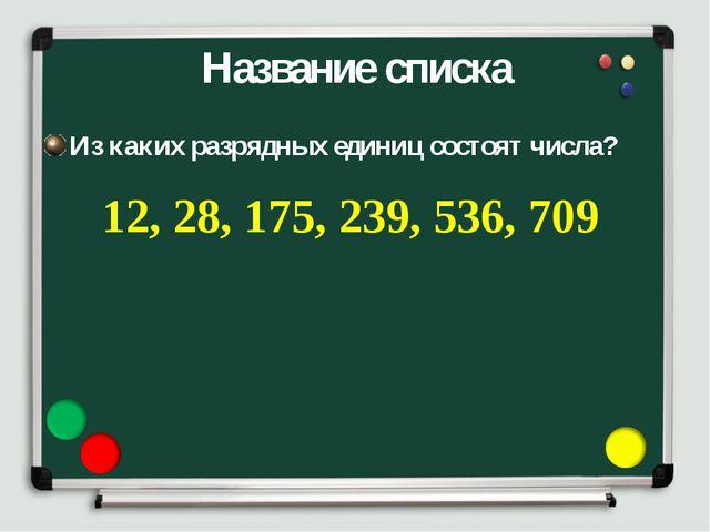 Название списка Из каких разрядных единиц состоят числа? 12, 28, 175, 239, 53...