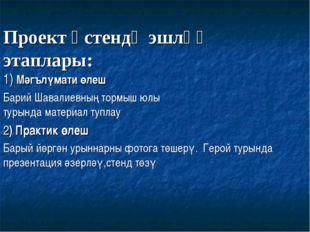 Проект өстендәэшләү этаплары: 1) Мәгълүмати өлеш Барий Шавалиевның тормыш ю