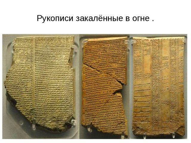 Рукописи закалённые в огне .