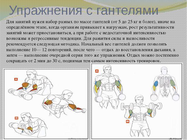 Упражнения с гантелями Для занятий нужен набор разных по массе гантелей (от 5...