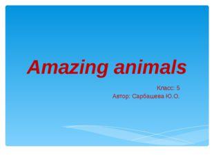 Amazing animals Класс: 5 Автор: Сарбашева Ю.О.
