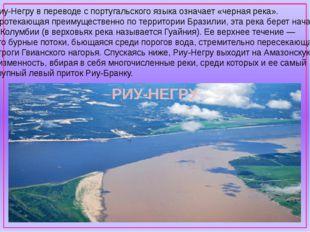 Риу-Негру в переводе с португальского языка означает «черная река». Протекаю