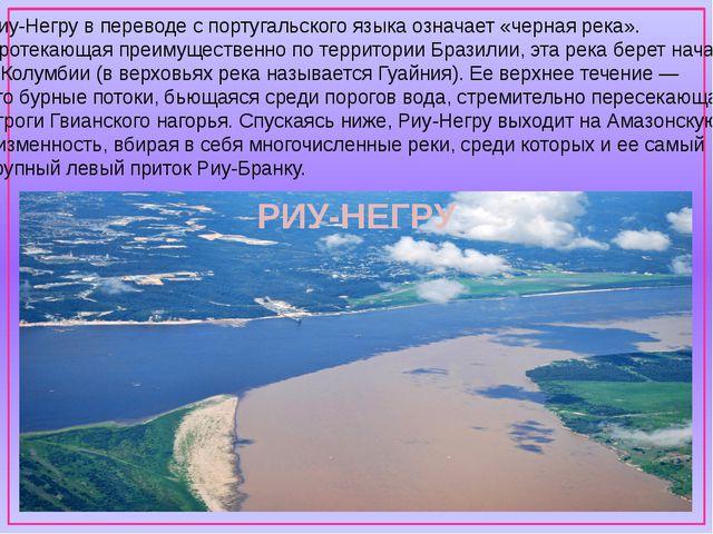 Риу-Негру в переводе с португальского языка означает «черная река». Протекаю...