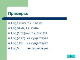 Примеры: Log5125=3 ,т.к. 53=125 Log264=6, т.к. 26=64 Log3(1/81)=-4, т.к. 3-4=