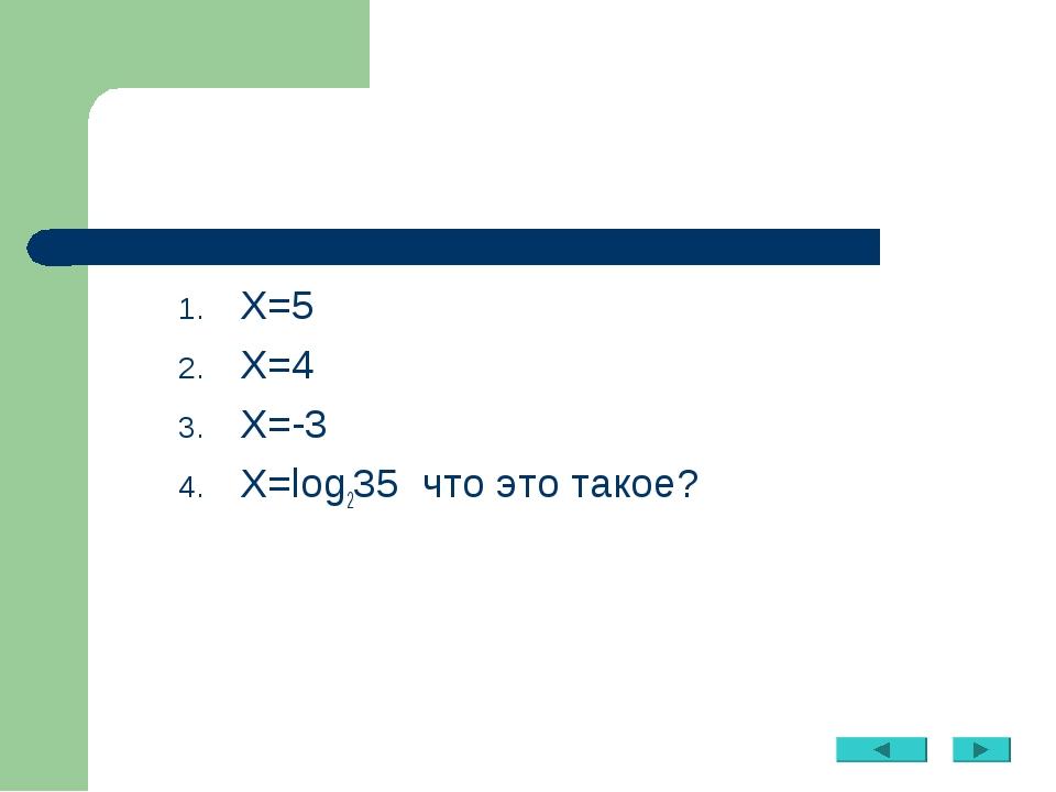 Х=5 Х=4 Х=-3 Х=log235 что это такое?