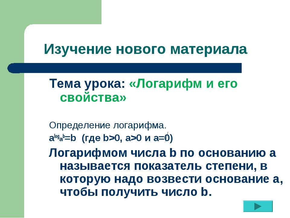 Изучение нового материала Тема урока: «Логарифм и его свойства» Определение л...