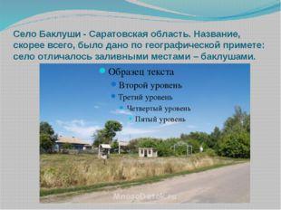 Село Баклуши - Саратовская область. Название, скорее всего, было дано по геог