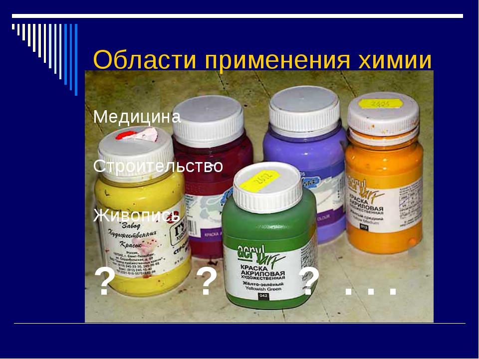 Области применения химии Медицина Строительство Живопись ? ? ? . . .
