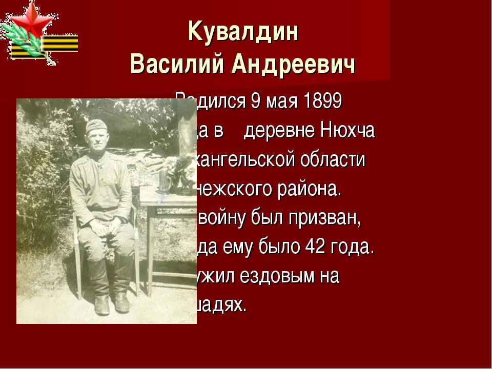 Кувалдин Василий Андреевич Родился 9 мая 1899 года в деревне Нюхча Архангельс...