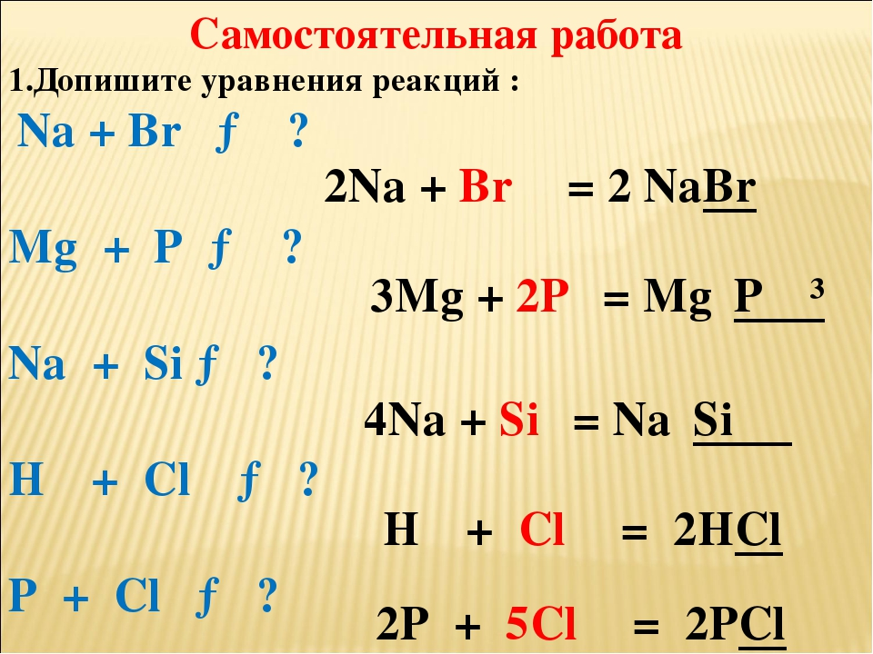 Самостоятельная работа 1.Допишите уравнения реакций : Na + Br₂ → ? Mg + P → ?...