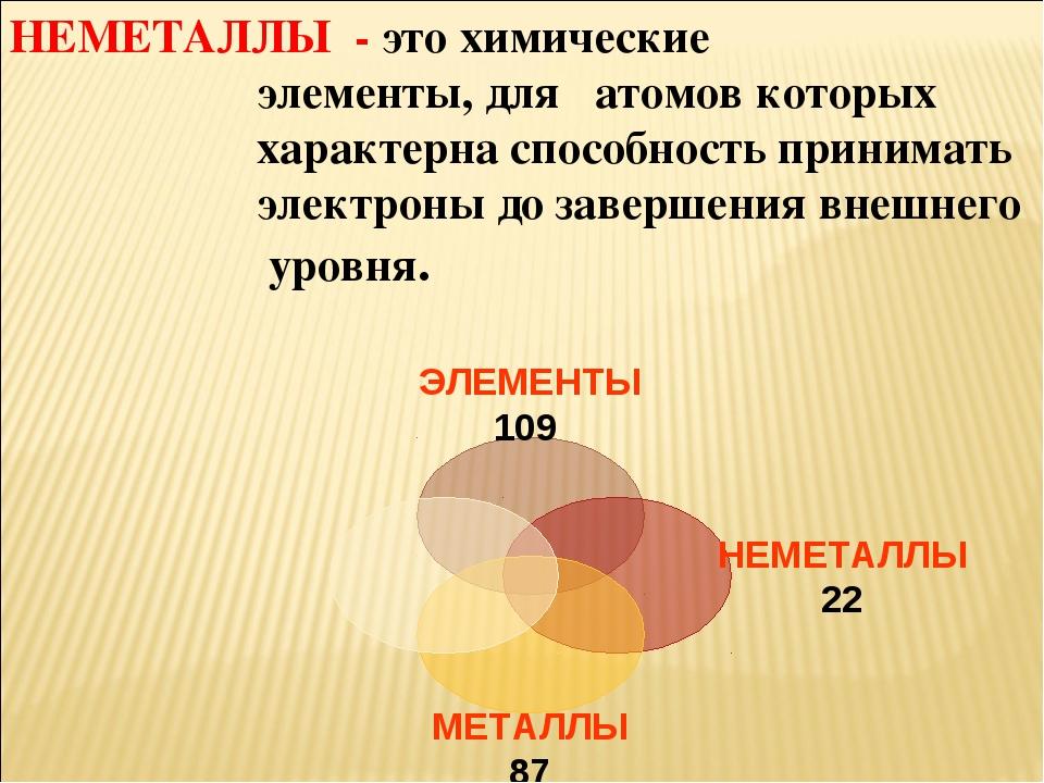 НЕМЕТАЛЛЫ - это химические элементы, для атомов которых характерна способност...