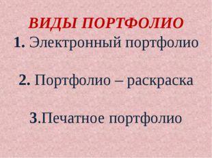ВИДЫ ПОРТФОЛИО 1. Электронный портфолио 2. Портфолио – раскраска 3.Печатное п