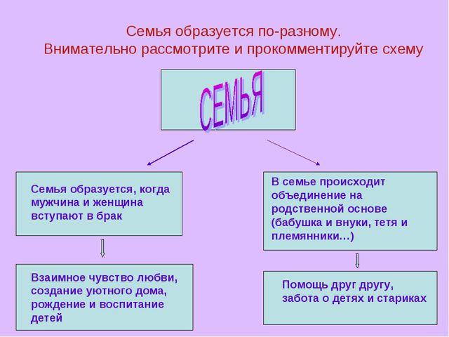 Семья образуется по-разному. Внимательно рассмотрите и прокомментируйте схему...