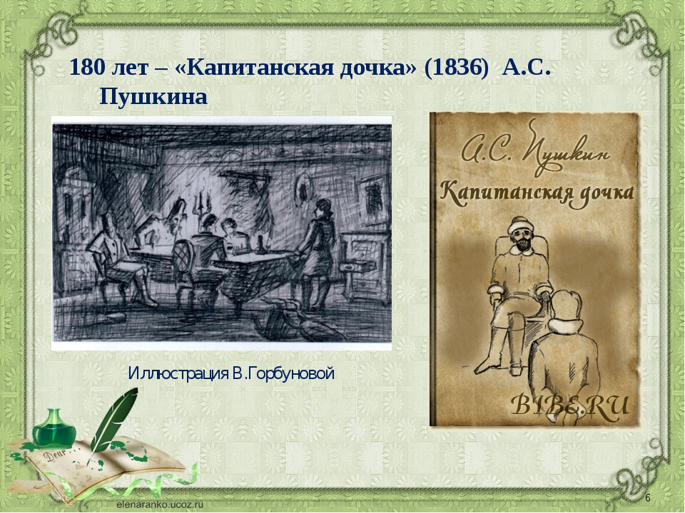 2015/2016 учебный год 180 лет – «Капитанская дочка» (1836) А.С. Пушкина Иллюс...