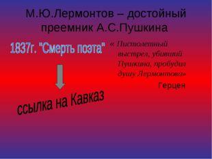 М.Ю.Лермонтов – достойный преемник А.С.Пушкина « Пистолетный выстрел, убивший