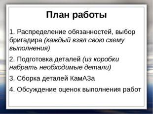 План работы 1. Распределение обязанностей, выбор бригадира (каждый взял свою