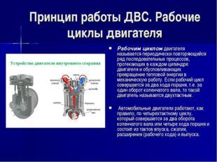 Принцип работы ДВС. Рабочие циклы двигателя Рабочим циклом двигателя называет